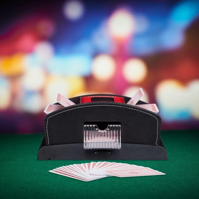 Electric 2-Deck Leather Card Shuffler2