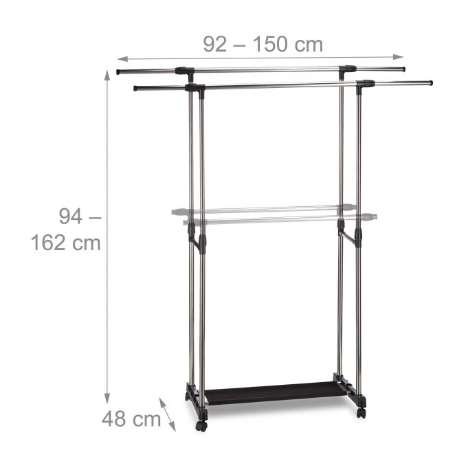 Garment Rack with 2 Rails on Wheels4