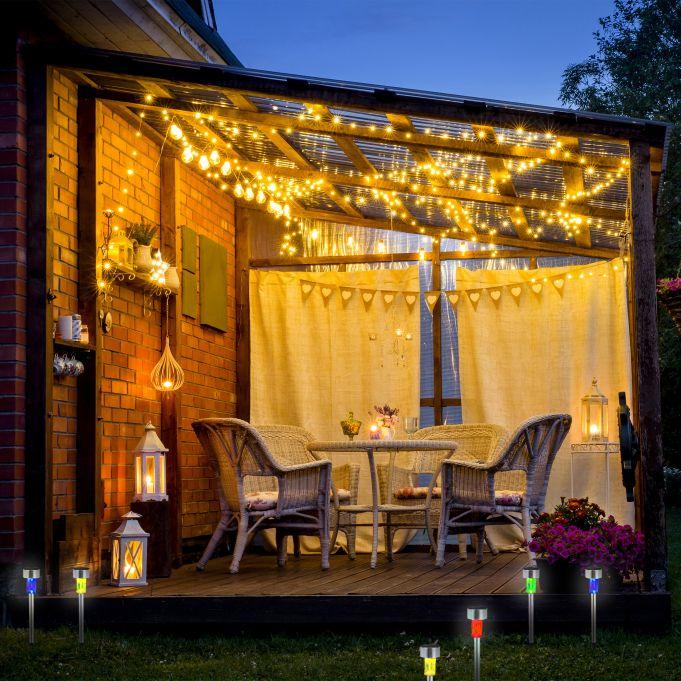 Details about  /Paquete de 10 lámparas solares de jardín para decoración de jardín de acero