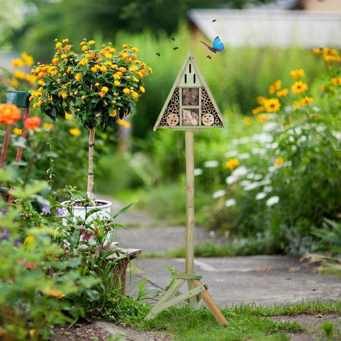 Insektenhotel Dreieck auf Ständer2