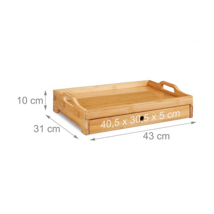 Bambus Serviertablett mit Schublade4