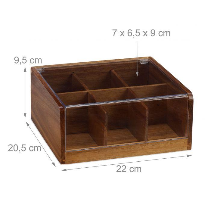 mit Sichtfenster rot-braun 33,5 x 20 x 9 cm Holz APS Teebox mit 4 Kammern ca