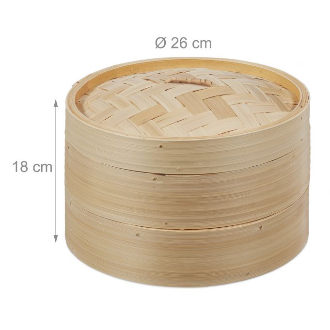 Bamboo Steaming Basket 2 Tiers 26 cm4