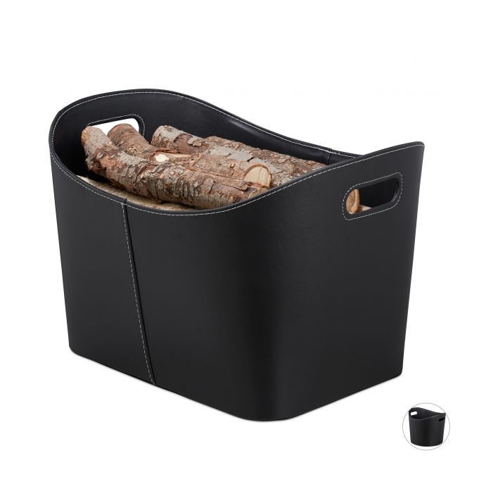 Black Faux Leather Firewood Basket3