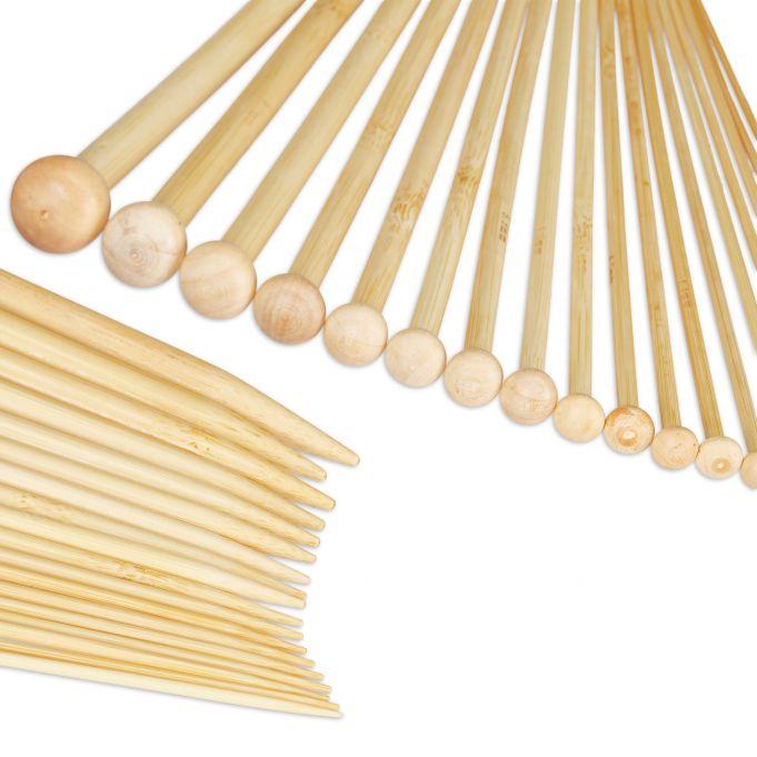 BetterJonny Lot de 36 aiguilles /à tricoter en bambou 18 tailles pour d/ébutants de 2 mm /à 10 mm