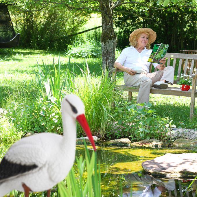 Gartenfigur Storch Teichfigur Klapperstoch Geburt Gartendeko Dekotier Dekofigur