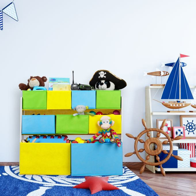 Immagine di Un Fal/ò Truciolato Tessuto Organizer Relaxdays Scaffale Porta Giochi con 9 Scatole di Stoffa 66 x 82,5 x 29,5 cm Set da 1 Colorato
