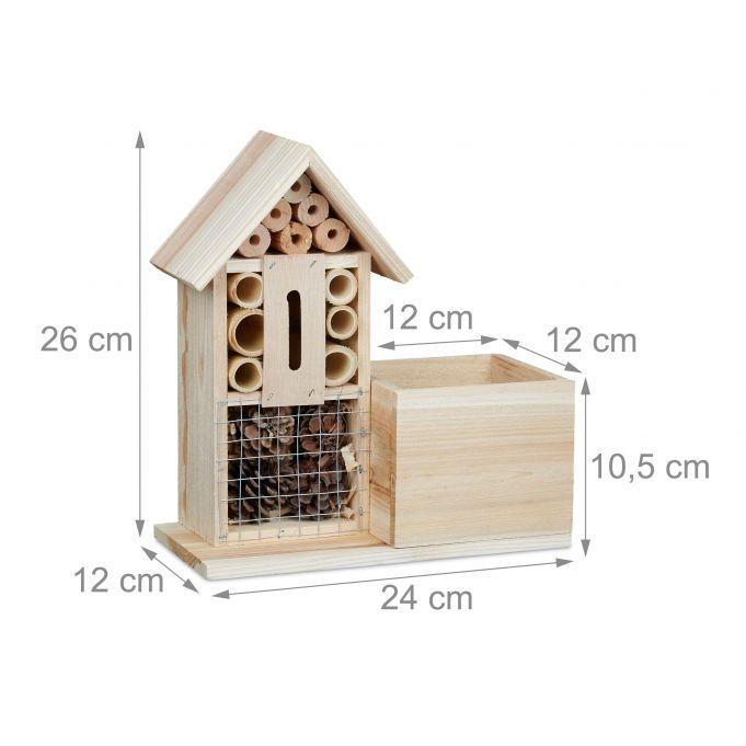 Pot de fleurs Hôtel à insectes en bois4