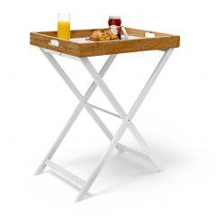 Tabletttisch Holz und Bambus für Frühstück