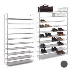 2 x Schuhregal für 50 Paar Schuhe grau