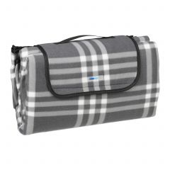 Grey-chequered picnic blanket