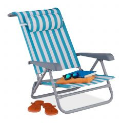 Reclining beach chair foldable