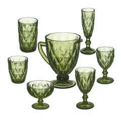 Set da 7 bicchieri vintage in vetro