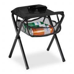Zwarte campingkruk tot 120 kg