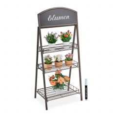 Braune Blumentreppe Metall mit Tafel