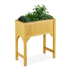 Raised wooden planter